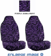 Front Car Truck SUV Universal-fit Bucket Seat Covers - Animal Print - Zebra - Purple - pair