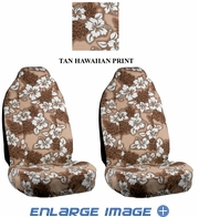 Front Car Truck SUV Universal-fit Bucket Seat Covers - Hawaiian Hibiscus Flowers - Beige Tan - pair
