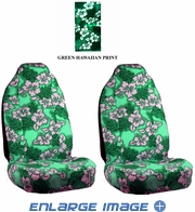 Front Car Truck SUV Universal-fit Bucket Seat Covers - Hawaiian Hibiscus Flowers - Green - pair