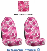 Front Car Truck SUV Universal-fit Bucket Seat Covers - Hawaiian Hibiscus Flowers - Pink - pair