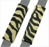 Front Car Truck SUV Universal-fit Bucket Seat Covers, Steering Wheel Cover and Seat Belt Pads - 5 Pc Set - Animal Print - Zebra - Beige Tan
