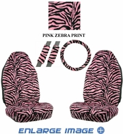 Front Car Truck SUV Universal-fit Bucket Seat Covers, Steering Wheel Cover and Seat Belt Pads - 5 Pc Set - Animal Print - Zebra - Pink