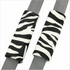 Front Car Truck SUV Universal-fit Bucket Seat Covers, Steering Wheel Cover and Seat Belt Pads - 5 Pc Set - Animal Print - Zebra - White