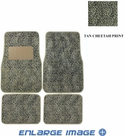 Front & Rear Seat Carpet Floor Mats - Car Truck SUV - Animal Print - Cheetah - Beige Tan