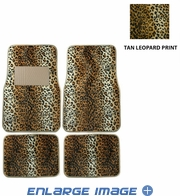 Front & Rear Seat Carpet Floor Mats - Car Truck SUV - Animal Print - Leopard - Beige Tan