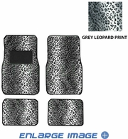 Front & Rear Seat Carpet Floor Mats - Car Truck SUV - Animal Print - Leopard - Grey Snow