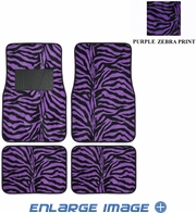 Front & Rear Seat Carpet Floor Mats - Car Truck SUV - Animal Print - Zebra Tiger - Purple