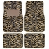 Front & Rear Seat Carpet Floor Mats - Car Truck SUV - Animal Print - Zebra Tiger - Tan