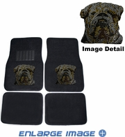 Front & Rear Seat Carpet Floor Mats - Car Truck SUV - Crystal Studded Rhinestone Bling - Bulldog