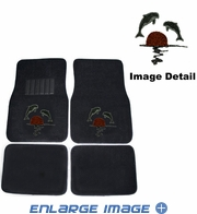 Front & Rear Seat Carpet Floor Mats - Car Truck SUV - Crystal Studded Rhinestone Bling - Dolphins Sun
