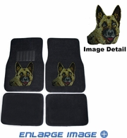 Front & Rear Seat Carpet Floor Mats - Car Truck SUV - Crystal Studded Rhinestone Bling - German Shepherd