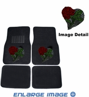 Front & Rear Seat Carpet Floor Mats - Car Truck SUV - Crystal Studded Rhinestone Bling - Heart Rose