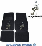 Front & Rear Seat Carpet Floor Mats - Car Truck SUV - Crystal Studded Rhinestone Bling - High Heel White