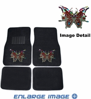 Front & Rear Seat Carpet Floor Mats - Car Truck SUV - Crystal Studded Rhinestone Bling - Multi Butterflies