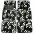 Front & Rear Seat Carpet Floor Mats - Car Truck SUV - Hawaiian Hibiscus Flowers - Black Charcoal