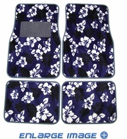 Front & Rear Seat Carpet Floor Mats - Car Truck SUV - Hawaiian Hibiscus Flowers - Blue