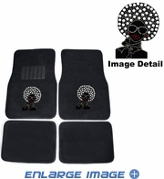 Front & Rear Seat Rubber Floor Mats - Car Truck SUV - Crystal Studded Rhinestone Bling - Disco Afro Girl