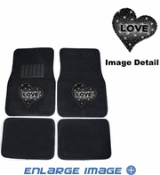 Front & Rear Seat Rubber Floor Mats - Car Truck SUV - Crystal Studded Rhinestone Bling - Hearts Love - White