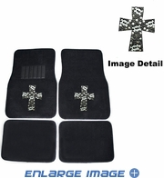 Front & Rear Seat Rubber Floor Mats - Car Truck SUV - Crystal Studded Rhinestone Bling - High Cross Skulls - White
