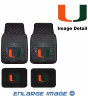 Front & Rear Seat Vinyl Floor Mats - Car Truck SUV - University of Miami