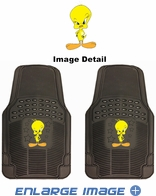 Front Seat PVC Vinyl Floor Mats - Car Truck SUV - Tweety Bird - Attitude with Stars