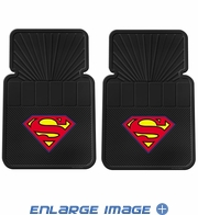 Front Seat Rubber Floor Mats - Car Truck SUV - DC Comics - Superman - Color Shield