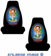 Front Universal Bucket Seat Covers - Car Truck SUV - Betty Boop - Aloha Hawaiian - PAIR