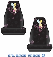 Front Universal Bucket Seat Covers - Car Truck SUV - Disney - Tinker Bell - Fearless Flirt - PAIR