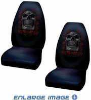 Front Universal Bucket Seat Covers - Car Truck SUV - Skull - Day of the Dead - PAIR