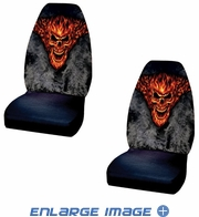 Front Universal Bucket Seat Covers - Car Truck SUV - Skull - Raging Inferno - PAIR