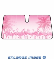 Front Windshield Sunshade - Accordion Style - Car Truck SUV - Pink Flamingo Birds with Palm Trees