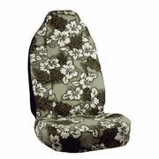 Grey Hawaiian Flower Print Seat Covers