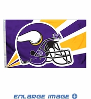 House Flag Banner Outdoor/Indoor - 3 x 5 Helmet Style - Minnesota Vikings
