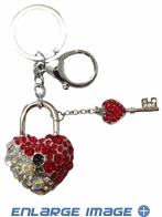 Key Chain - Crystal Bling 3D - Heart with Key - Aurore Boreale, Clear, and Red Crystals