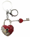 Key Chain - Metal Bling - Car Truck SUV - Heart with Key - Red