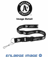 Lanyard with Key Chain Clip and Velcro closure - Blackout - Oakland Athletics