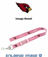 Lanyard with Key Chain Clip and Velcro closure - Pink - Arizona Cardinals
