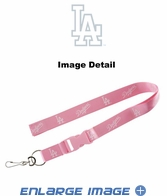 Lanyard with Key Chain Clip and Velcro closure - Pink - Los Angeles Dodgers