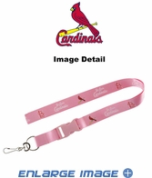 Lanyard with Key Chain Clip and Velcro closure - Pink - St. Louis Cardinals