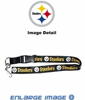 Lanyard with Key Chain Clip and Velcro closure - White - Pittsburgh Steelers