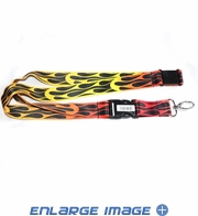 Lanyard with Key Chain Clip - Flames - Yellow Orange and Red