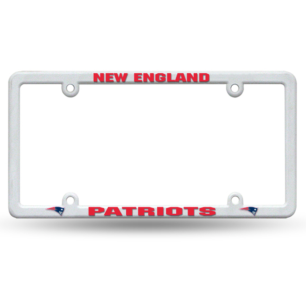 New England Patriots Thin Rim License Plate Frame With Decals