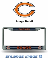 License Plate Frame - Chrome Metal - Glitter - Car Truck SUV - NFL - Chicago Bears