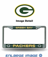 License Plate Frame - Chrome Metal - Bling - Car Truck SUV - Green Bay Packers
