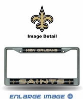 License Plate Frame - Chrome Metal - Glitter - Car Truck SUV - NFL - New Orleans Saints