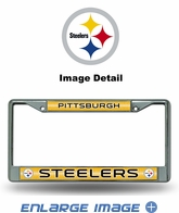 License Plate Frame - Chrome Metal - Glitter - Car Truck SUV - NFL - Pittsburgh Steelers