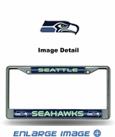 License Plate Frame - Chrome Metal - Bling - Car Truck SUV - Seattle Seahawks