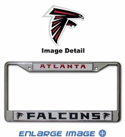 License Plate Frame - Chrome Metal - Car Truck SUV - Atlanta Falcons