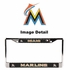 License Plate Frame - Chrome Metal - Car Truck SUV - Miami Marlins