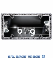 License Plate Frame - Chrome Metal - Clear Gem Bling Crystals - Car Truck SUV - Animal Print - Snow Leopard